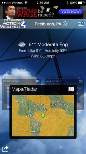 The app includes interactive radar, which you can zoom down to street level, right into your neighborhood.
