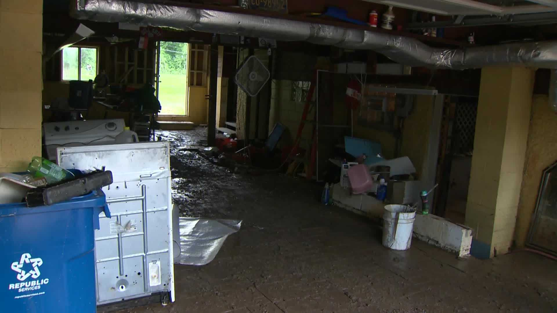 flooding aftermath in basement