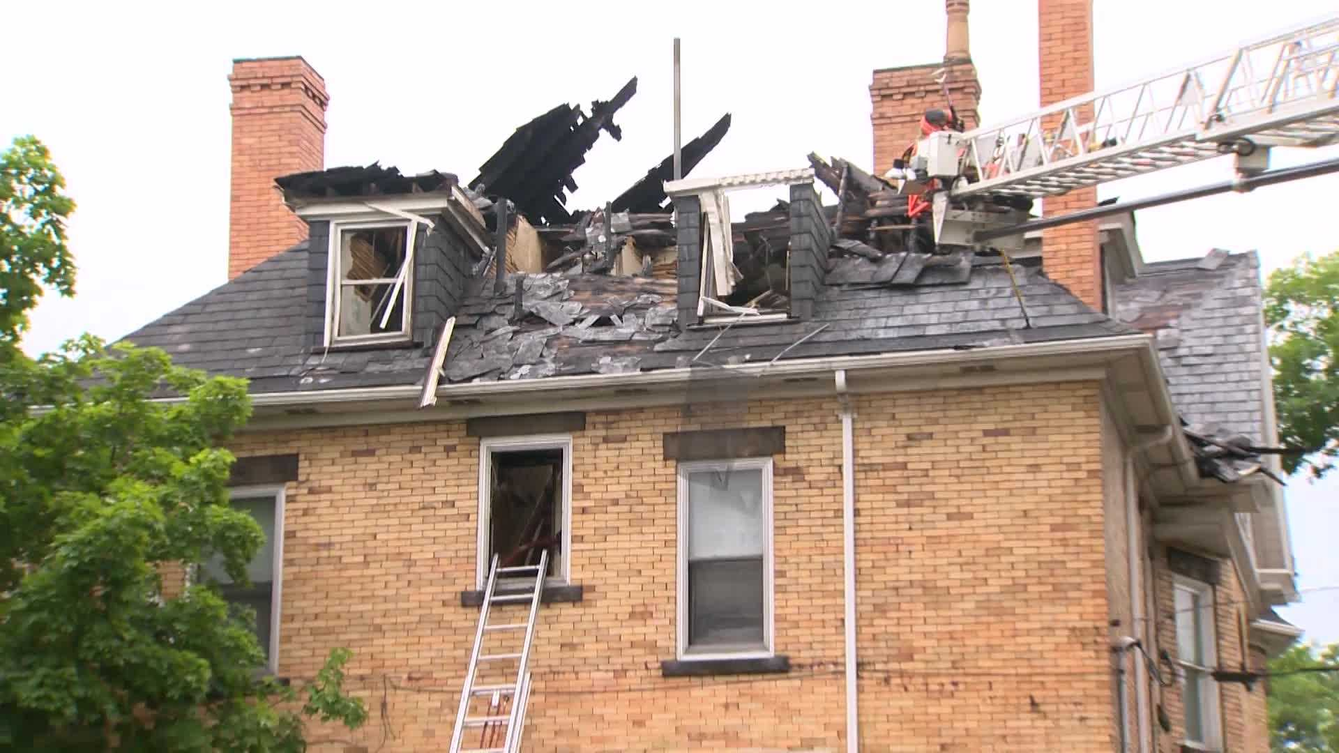 A picture sent to Pittsburgh's Action News 4 from a viewer showed heavy smoke and flames at the top of the structure.