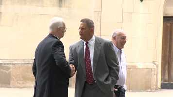 Former Steelers defensive tackle and current Robert Morris University head coach John Banaszak attended the funeral for Chuck Noll.