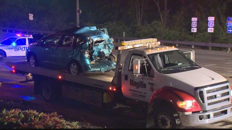 A tractor-trailer and three other vehicles were involved in a crash at the intersection of Route 22 and Elliott Road in Monroeville late Sunday night.