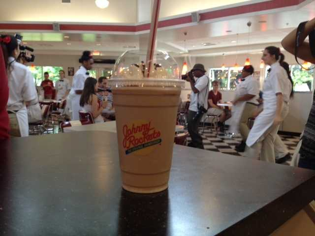 Milkshakes are also popular on the Johnny Rockets menu.