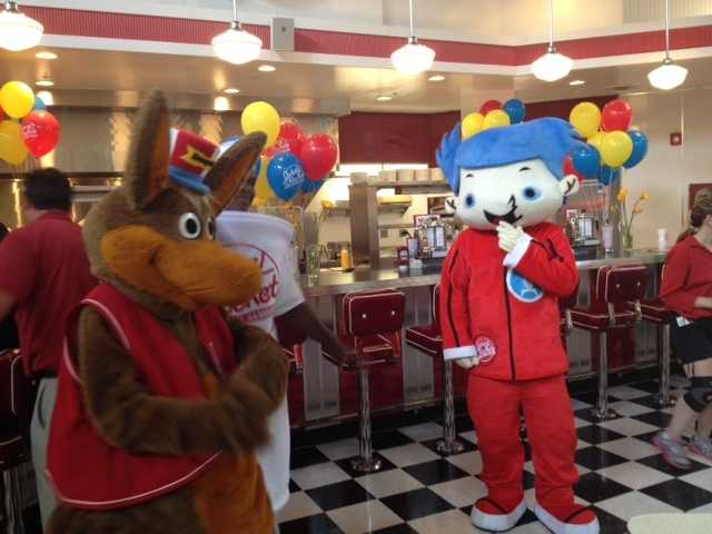 Kenny Kangaroo meets Johnny at the new Johnny Rockets restaurant at Kennywood Park.