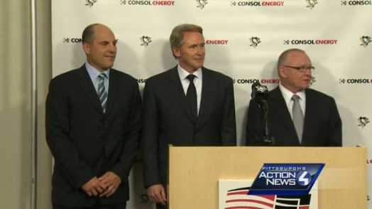Left to right: Assistant coach Rick Tocchet, head coach Mike Johnston, general manager Jim Rutherford.