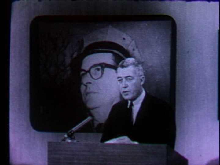 Carl Ide told WTAE viewers about the death of former West Virginia Gov. William Marland in November 1965. An image of Marland was displayed via a slide projector, as videotape for newscasts hadn't come along yet.