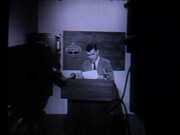 Back in those days, the newscasts had sponsors and their logos were visible on screen. In this photo, you can see the logo of the American Oil Company (which later became Amoco). Commercials were often read live on the air during this era.