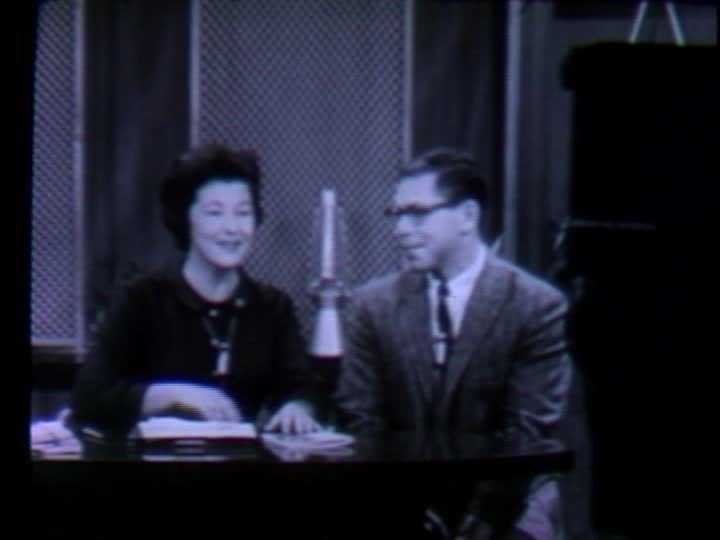 """Jean Connelly interviewed a wide range of guests on her show. Here, she's pictured talking with Pittsburgh native Peter Sandman about his book, """"Where The Girls Are: A Social Guide to Women's Colleges In the East."""""""