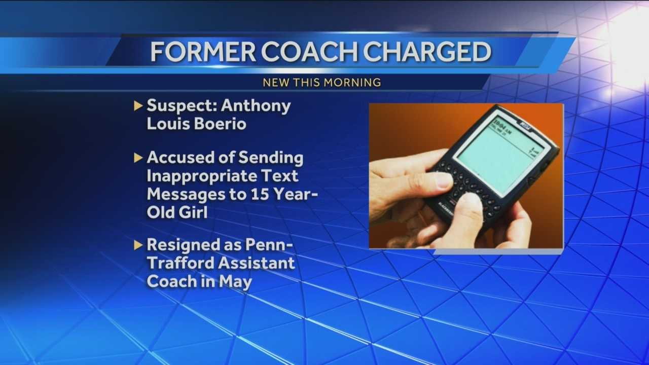 Accused of sending inapprobiate text messages to 15 year old girl. Resigned as assistant coach in May.