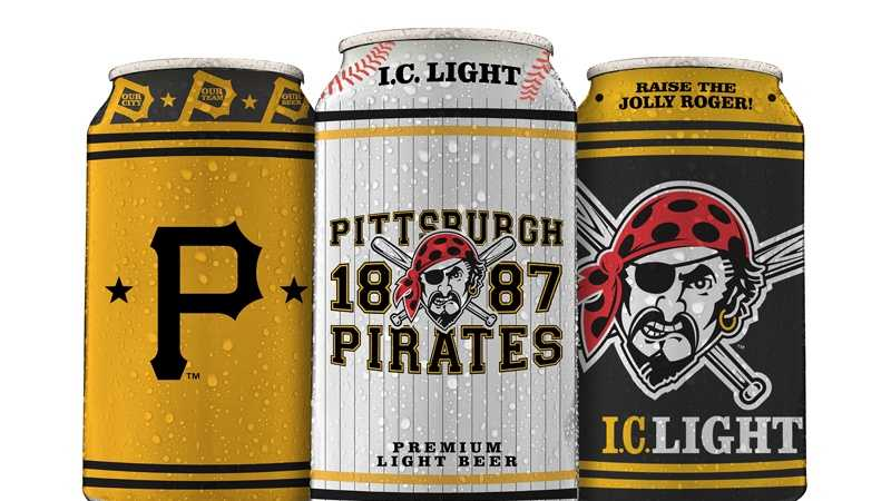 Pirates-themed collector series beer cans of I.C. Light: Vintage P, Heritage 1887 and Raise the Jolly Roger.