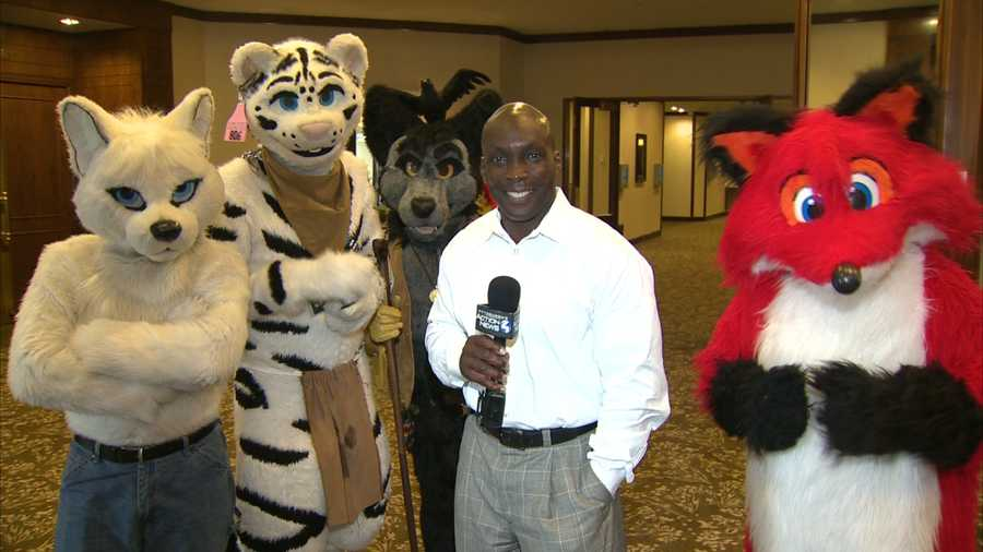 Reporter Sheldon Ingram with the furries