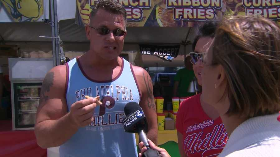 These Philadelphia Phillies fans enjoyed the food and the weather at the Regatta. The Pirates are hosting the Phillies in a weekend series at PNC Park.