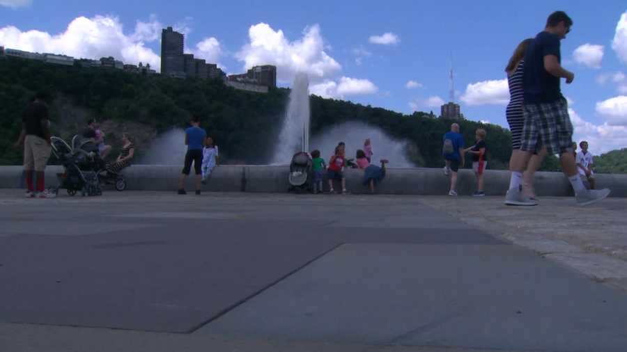 The fountain at Point State Park was gushing on a warm day during the Pittsburgh Three Rivers Regatta.