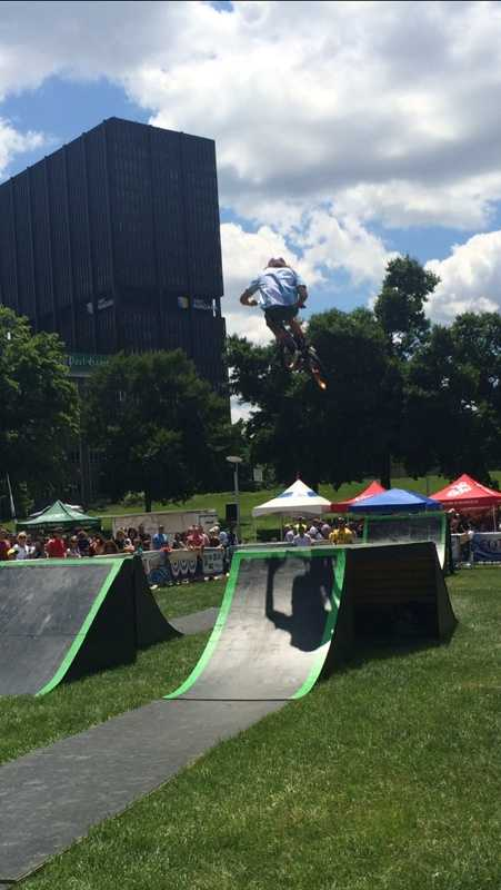 BMX Stunt Show on the lawn at Point State Park