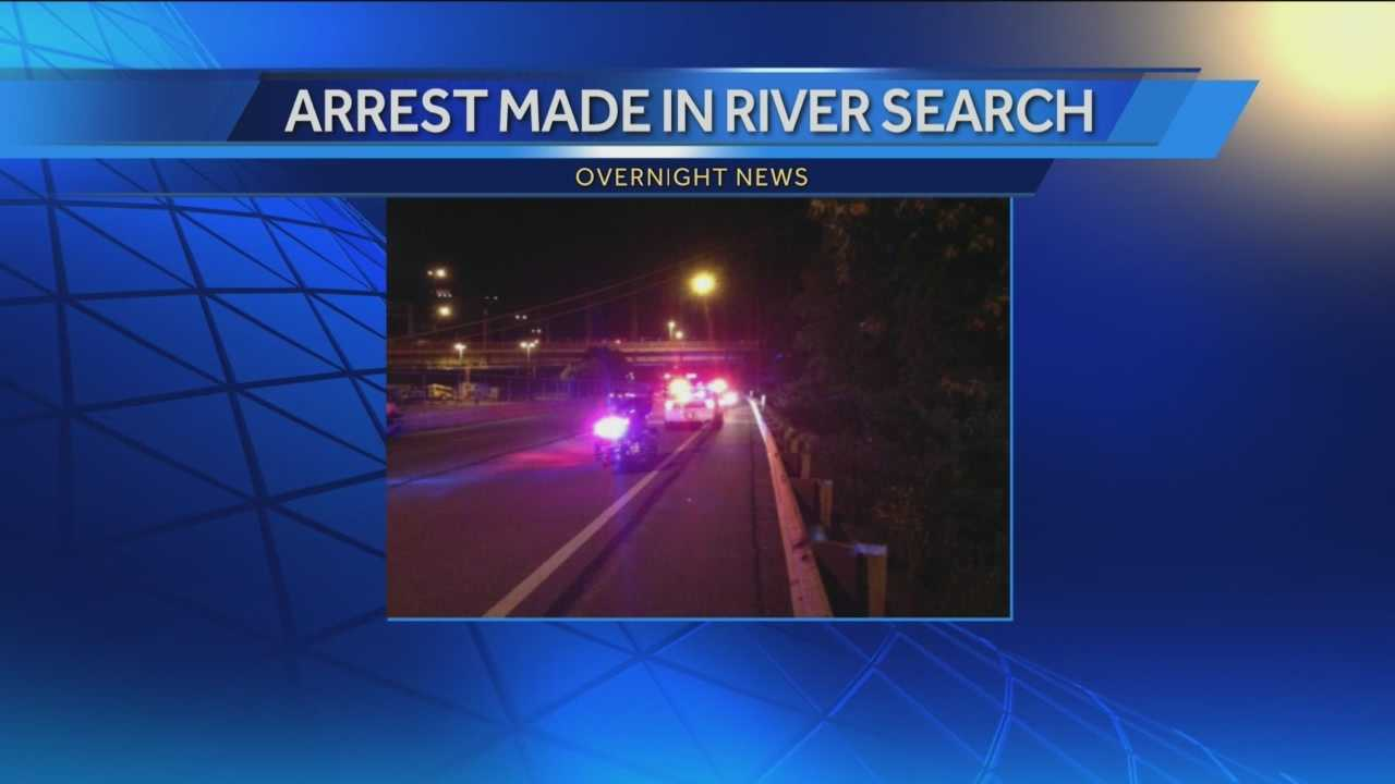 Robbery suspect found after bridge jump