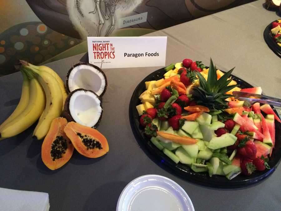 The birds weren't the only ones enjoying fruit that evening as Paragon Foods provided a colorful display for guests.