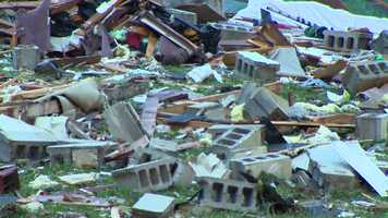 The house was reduced to rubble and debris.