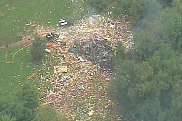 Sky 4 showed this view of the house explosion in South Beaver Township.