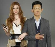 "ABC's ""Selfie"" stars Karen Gillan as Eliza and John Cho as Henry."