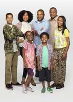 """ABC's """"black-ish"""" stars Marcus Scribner as Andre Jr., Tracee Ellis Ross as Rainbow, Marsai Martin as Diane, Anthony Anderson as Dre, Miles Brown as Jack, Laurence Fishburne as Pops and Yara Shahidi as Zoey. (ABC/Craig Sjodin)"""