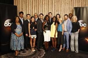 """How to Get Away with Murder"" - The cast and producers of ABC's ""How to Get Away with Murder"" at Disney ¦ ABC Television Group's Summer Press Tour 2014. (ABC/Rick Rowell) SHONDA RHIMES (EXECUTIVE PRODUCER), ALFRED ENOCH, MATT MCGORRY, KARLA SOUZA, BILL D'ELIA (EXECUTIVE PRODUCER/DIRECTOR), JACK FALAHEE, VIOLA DAVIS, PETE NORWALK (CREATOR/EXECUTIVE PRODUCER), AJA NAOMI KING, KATIE FINDLAY, LIZA WEIL, CHARLIE WEBER, BILLY BROWN, BETSY BEERS (EXECUTIVE PRODUCER)"