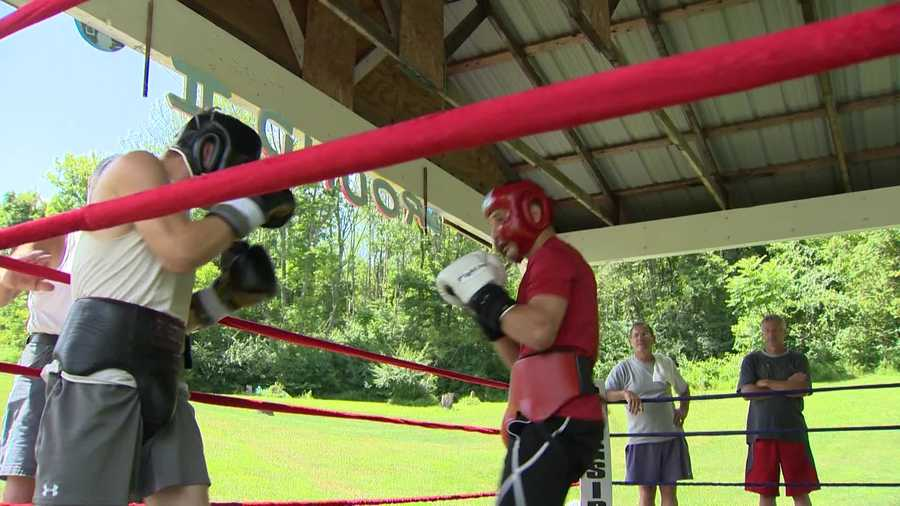 Rod Salka (right) in a sparring session at training camp.