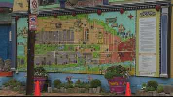 One of the coolest parts of Randyland is a giant outdoor map of Pittsburgh that Randy Gilson designed on the wall of his bright yellow home.