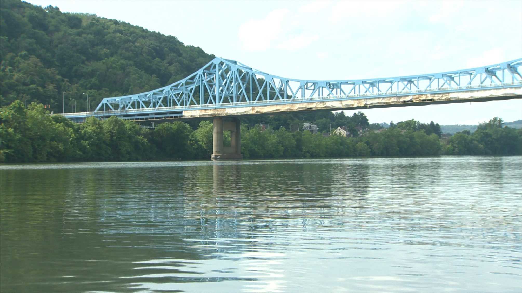 The Mansfield Bridge, also known as the Dravosburg Bridge, carries traffic over the Monongahela River between McKeesport and Dravosburg.