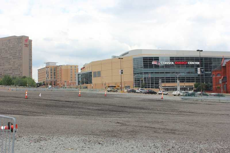 A new arena, the Consol Energy Center, was built across Centre Avenue from the old Igloo. It's nestled between Epiphany Catholic Church (right) and the new Cambria Suites hotel (left).