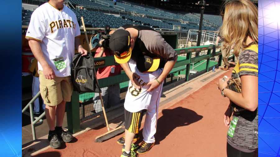 At Monday's home game, Gage showed Neil Walker his latest prosthetic leg. It is emblazoned with a large picture of Walker.