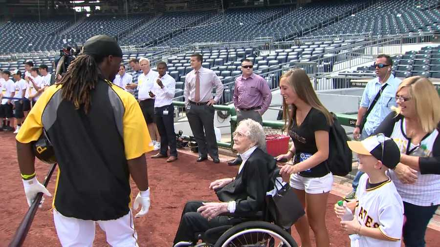 Center fielder Andrew McCutchen welcomed 100-year-old Regene Green to PNC Park before Monday night's Pirates-Dodgers game.