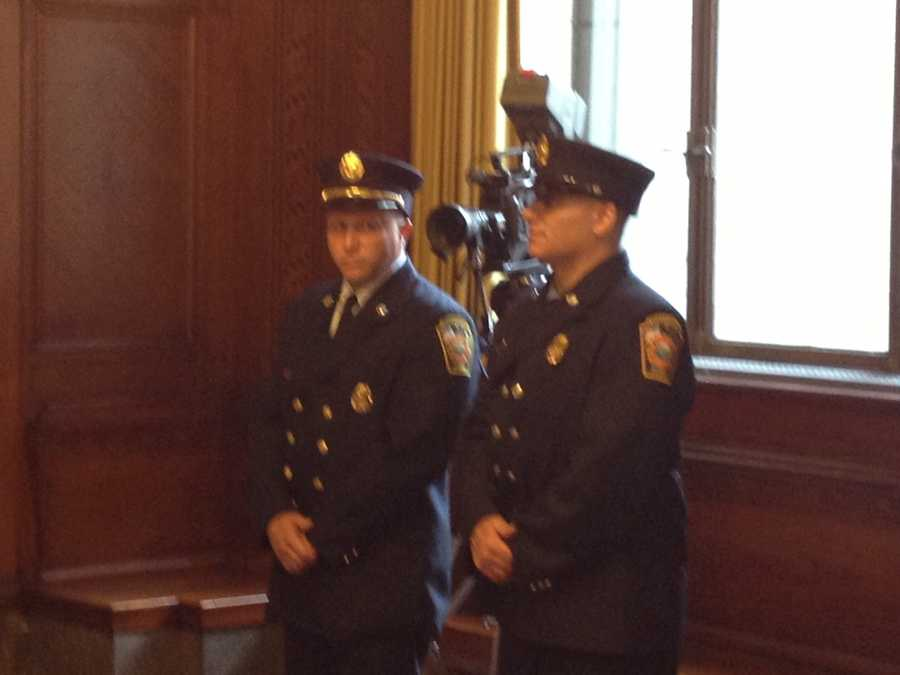 Firefighters Thomas Rhad and Danny Doyle were promoted to lieutenants.