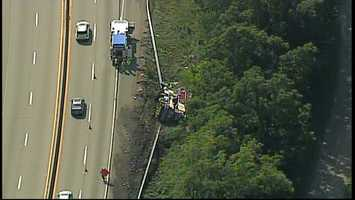 A Construction vehicle crashed and landed on its side Tuesday on Interstate 70 in Washington, Pa.