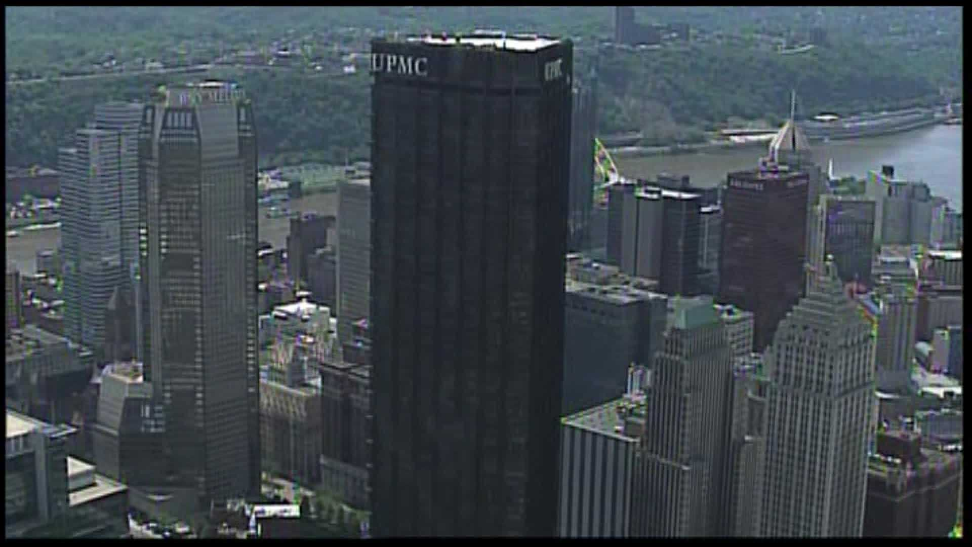 These days, the UPMC sign is prominently displayed atop the Steel Building. The University of Pittsburgh Medical Center is headquartered here, and it leases several floors, including the 62nd floor that used to be the Top of the Triangle restaurant.