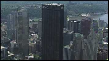 These days, the UPMC sign is prominently displayed atop the Steel Building. The University of Pittsburgh Medical Center is headquartered here, and itleases several floors, including the 62nd floor that used to be the Top of the Triangle restaurant.