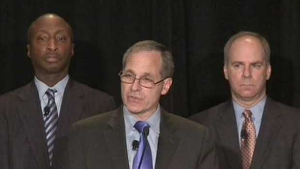 Ron Tomalis (right), pictured with Penn State trustee Ken Frazier (left) and Louis Freeh in November 2011.