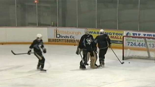 A Pittsburgh Penguins practice skate at the IceoPlex at Southpointe.