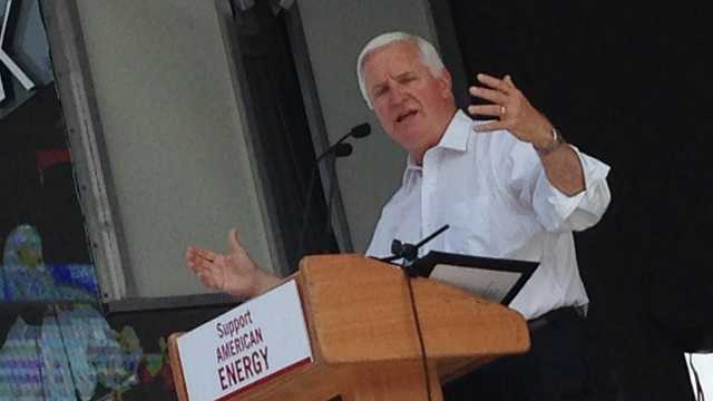 Gov. Tom Corbett addressed a rally at Highmark Stadium with coal industry and mining supporters who oppose stricter Environmental Protection Agency regulations being proposed to regulate pollution from coal-burning power plants.