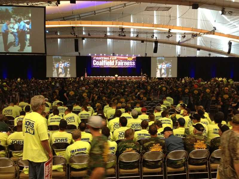 The United Mine Workers of America held a rally in Pittsburgh to oppose stricter new EPA regulations on pollution from coal-burning power plants.