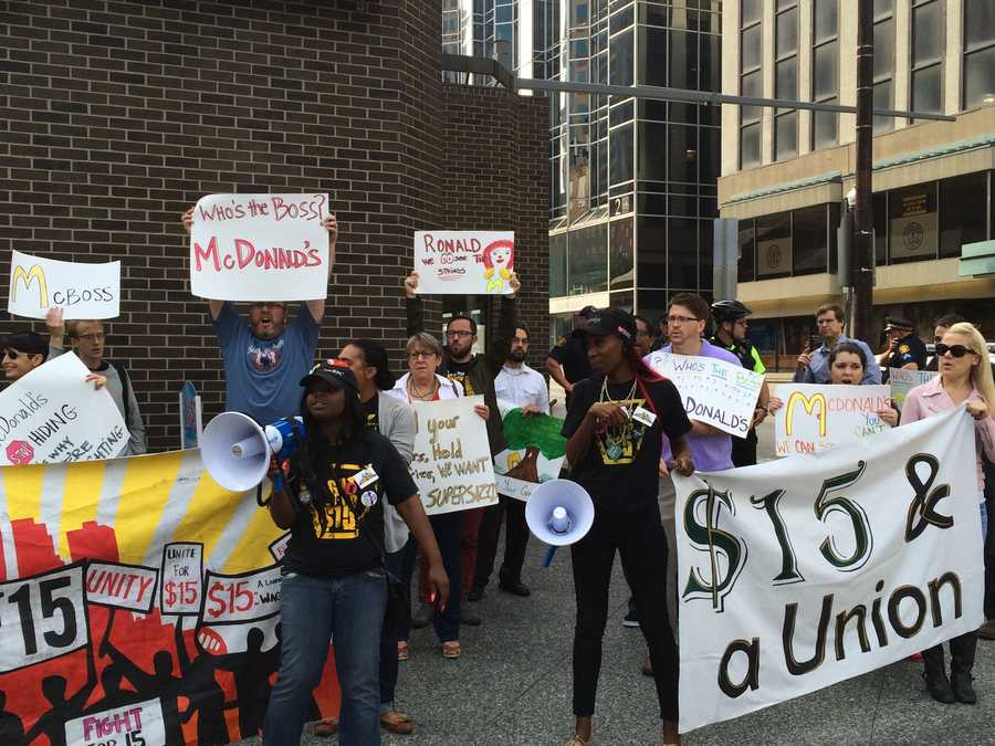 Pittsburgh's Action News 4's Amber Nicotra is with the McDonald's empployees who are rallying on Stanwix Street for better wages.