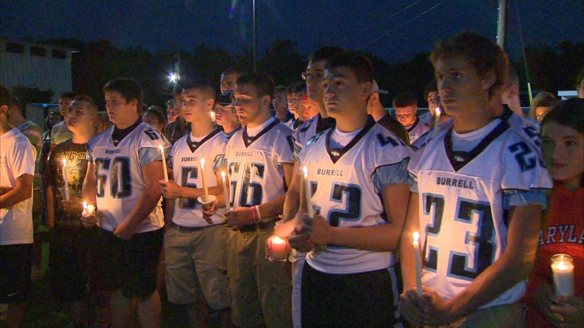 Vigil held for Burrell football player