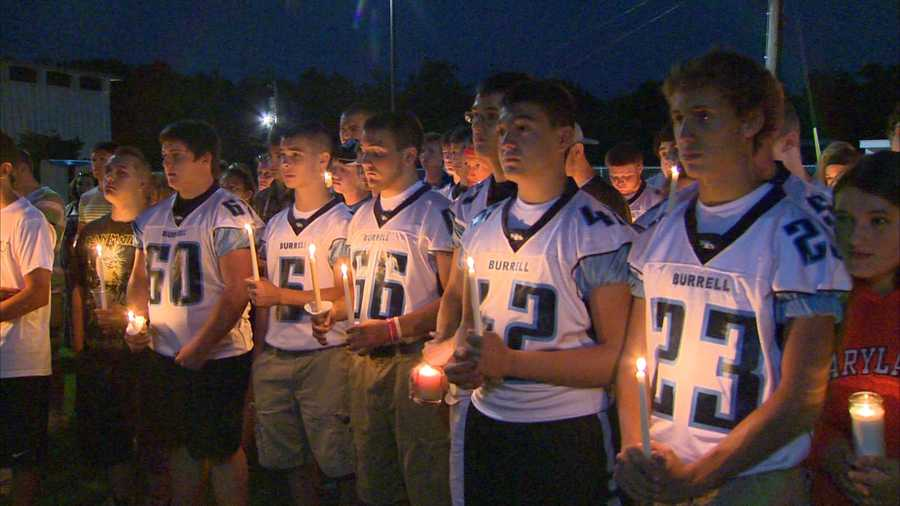 Burrell High School football players remember their teammate, Noah Cornuet, who collapsed during a conditioning session and died. An autopsy found that he had a heart tumor.