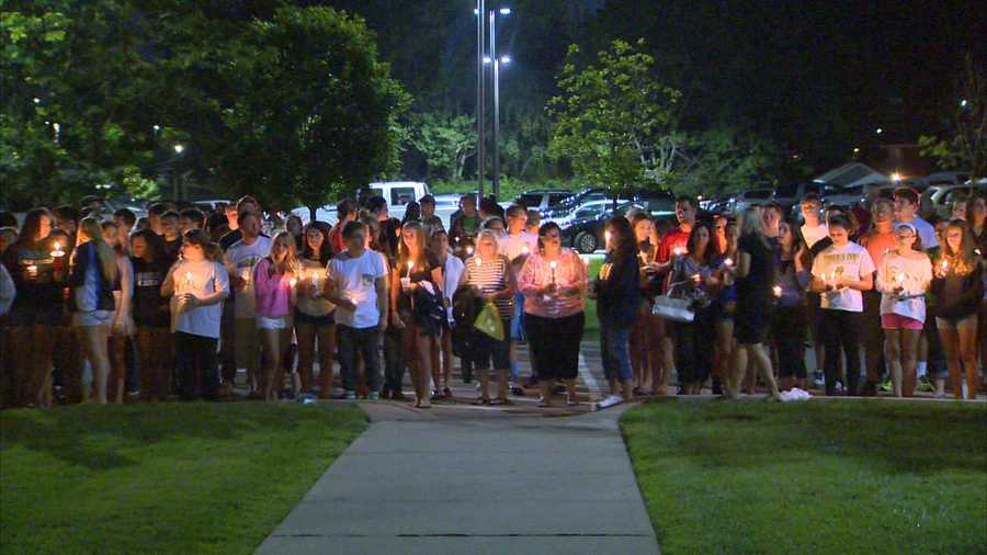 Many students attended a vigil for Noah Cornuet outside Burrell High School.