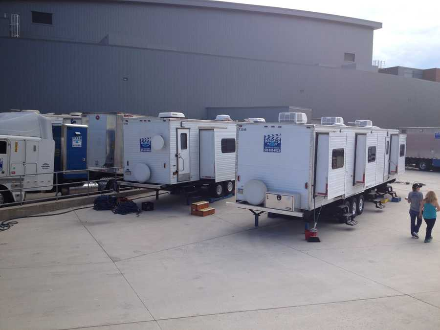 Production trailers move in to Indiana University of Pennsylvania