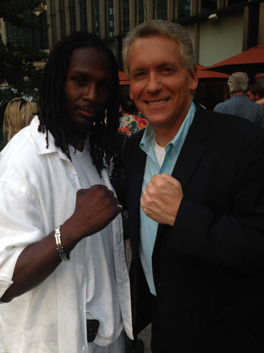Mike with Pittsburgh boxer Rayco Saunders, who has a role in the film.