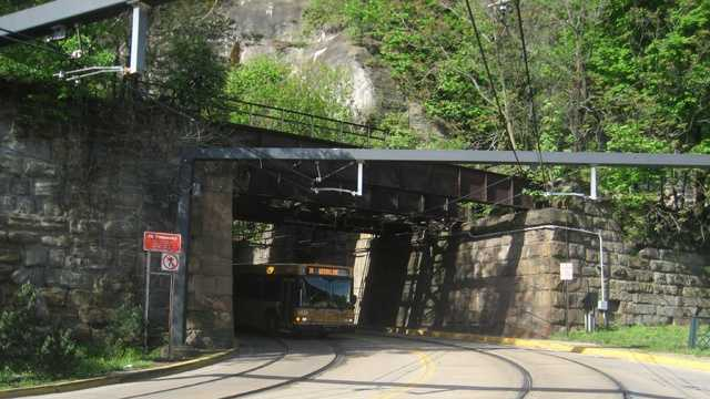The Mount Washington Transit Tunnel is used by Port Authority buses and light-rail trains.