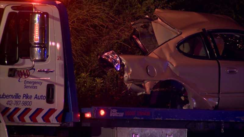 The driver of the stolen car and his 15-year-old female passenger were taken to UPMC Children's Hospital of Pittsburgh.