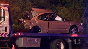 Police said a stolen car driven by a 16-year-boy hit a construction sign, crossed into another lane and struck a second vehicle.
