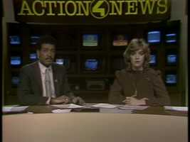 Sally Wiggin and co-anchor Rod Daniels in 1983. Rod now works at WTAE's sister station WBAL in Baltimore.