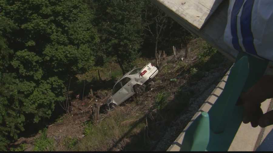 Here's another look at just how steep of a drop it is from Grandview Avenue down the side of Mt. Washington. The hillside is almost at a 90-degree angle to the road.