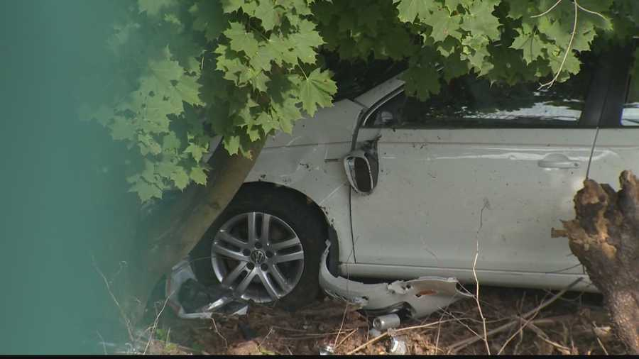 The driver was able to climb out of the car, although emergency responders say that's a bad idea. In a situation like this, they advise waiting inside the vehicle for help to arrive.